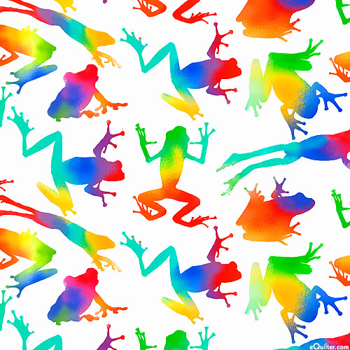 Jewels of the Jungle - Rainbow Frogs - White - DIGITAL PRINT