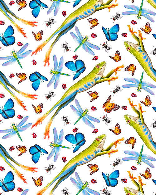 Jewels of the Jungle - Leaping Frogs - White - DIGITAL PRINT