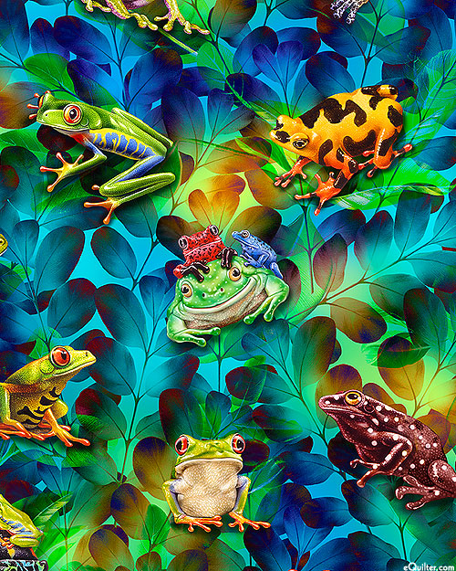 Jewels of the Jungle - Rainforest Frogs - Turquoise - DIGITAL
