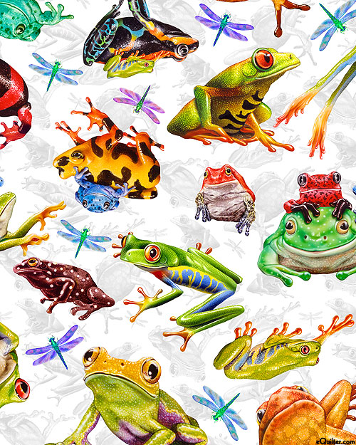 Jewels of the Jungle - Dragonflies & Frogs - White - DIGITAL
