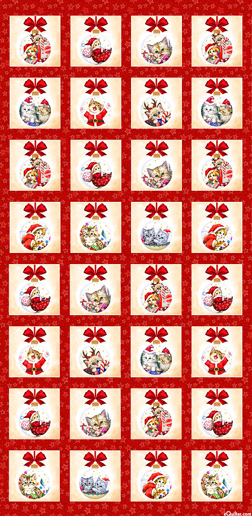"""Kitten Christmas - Cat Ornaments - Ruby Red - 24"""" x 44"""" PANEL"""