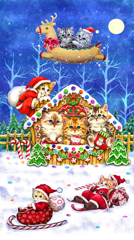 "Kitten Christmas - Gingerbread - Royal Blue - 24"" x 44"" PANEL"
