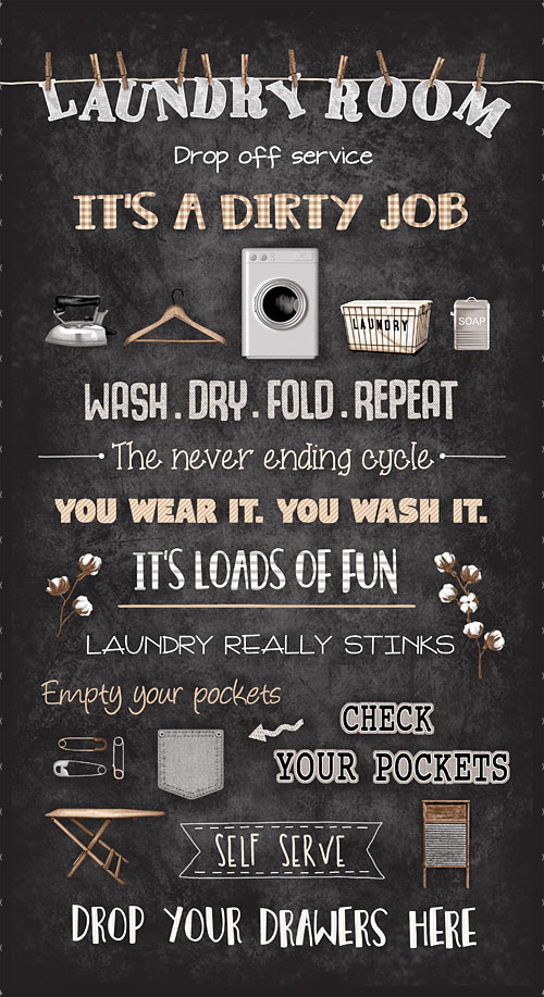 "Loads of Fun - Laundry Room Chalkboard - Black - 24"" x 44"" PANEL"