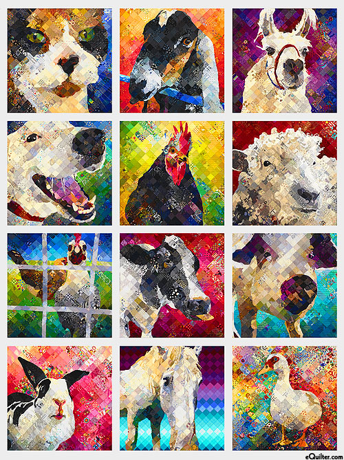 """Noble Menagerie - Furry Friends - Pewter Gray - 36"""" x 44"""" PANEL"""