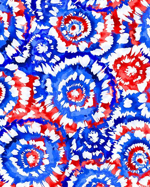 "Spin Art - Patriotic - 108"" QUILT BACKING"