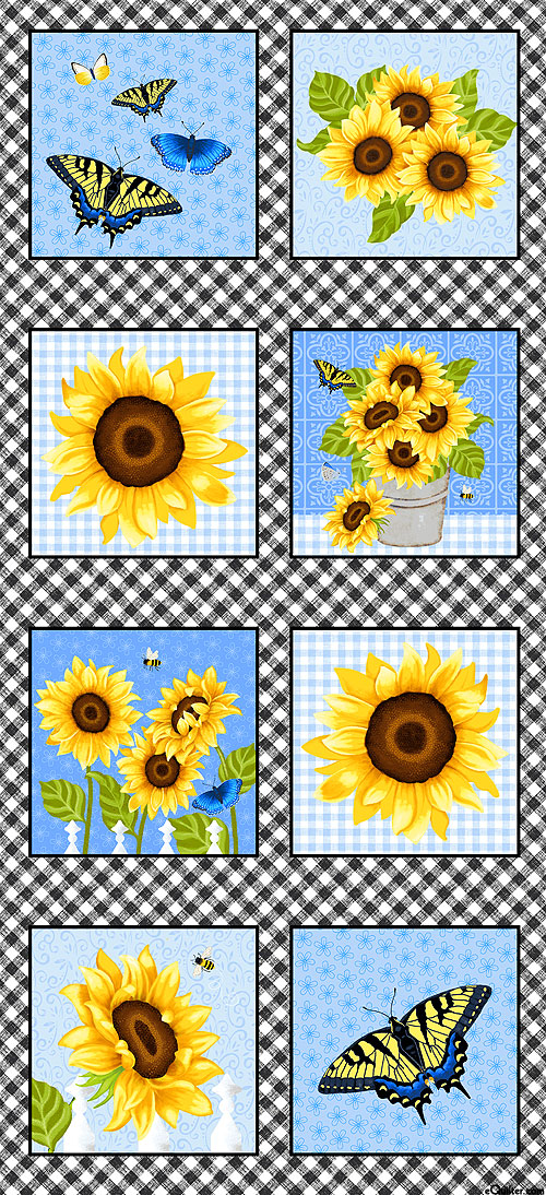 "Sunny Sunflowers - Gingham Garden Blooms - 24"" x 44"" PANEL"