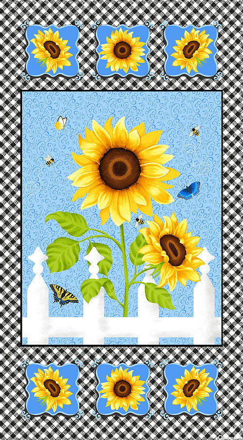 """Sunny Sunflowers - Picket Fence Happiness - 24"""" x 44"""" PANEL"""