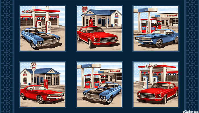 "Truckin' in the USA - Pit Stop - Navy Blue - 24"" x 44"" PANEL"