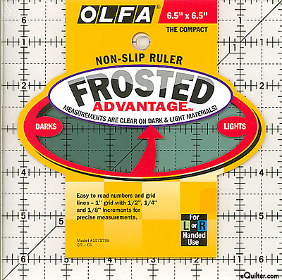 "Olfa Non-Slip Frosted Advantage Ruler - 6 1/2"" Square"