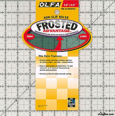 """Olfa Non-Slip Frosted Advantage Ruler - 9 1/2"""" Square"""