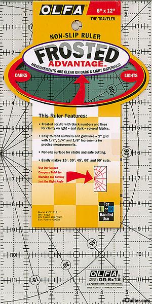 "Olfa Non-Slip Frosted Advantage Ruler - 6"" x 12"""