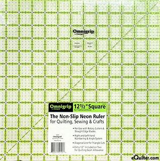 """Omnigrip Non-Slip Neon Grid - Quilting Ruler  -  12 1/2"""" Square"""