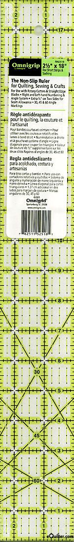"""Omnigrip Non-Slip Neon Grid - Quilting Ruler - 2 1/2"""" x 18"""""""
