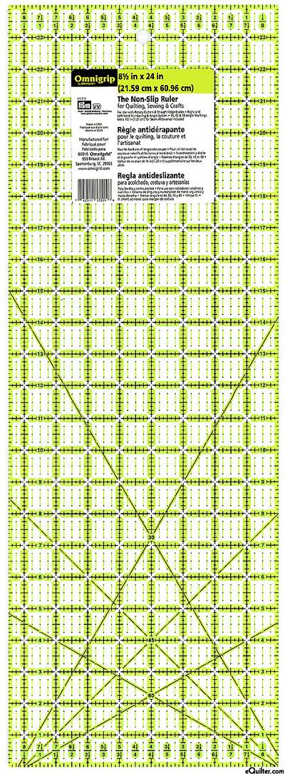"""Omnigrip Non-Slip Neon Grid - Quilting Ruler - 8-1/2"""" x 24"""""""