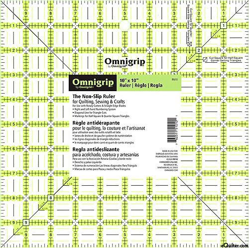 """Omnigrip Non-Slip Neon Grid - Quilting Ruler - 10"""" x10"""""""