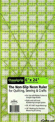 """Omnigrip Non-Slip Neon Grid - Quilting Ruler  -  6"""" x 24"""""""