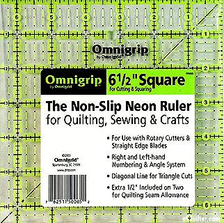 """Omnigrip Non-Slip Neon Grid - Quilting Ruler  -  6 1/2"""" Square"""