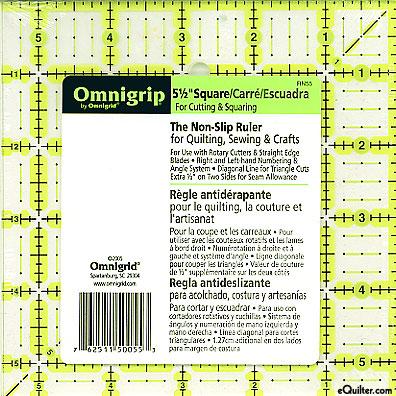 """Omnigrip Non-Slip Neon Grid - Quilting Ruler - 5 1/2"""" Square"""