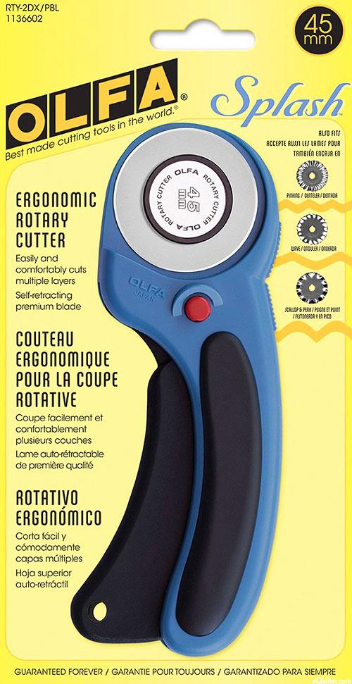 Olfa Deluxe Ergonomic Rotary Cutter - 45mm - Splash Blue