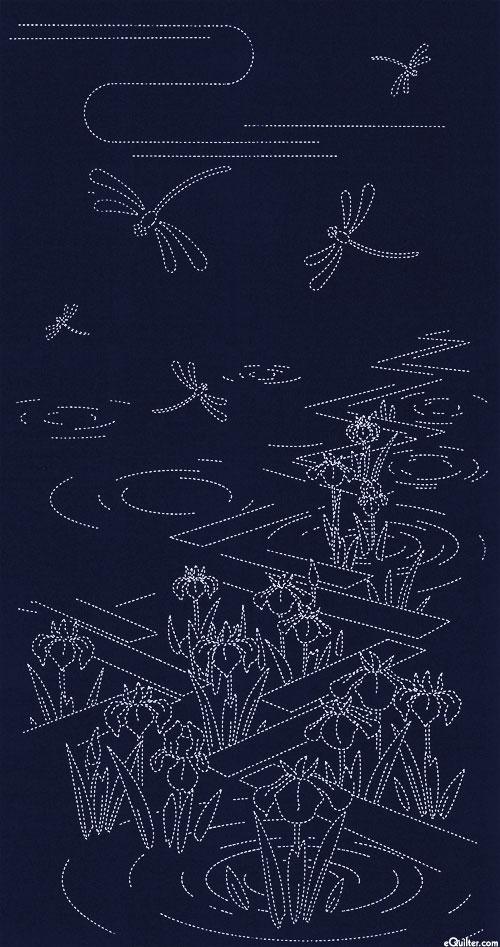 "Sashiko Panel - Garden Pond - 24"" x 44"" PANEL"