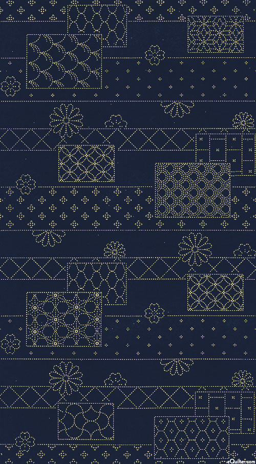 "Sashiko Panel - Flowers & Blocks - 24"" x 44"" PANEL"