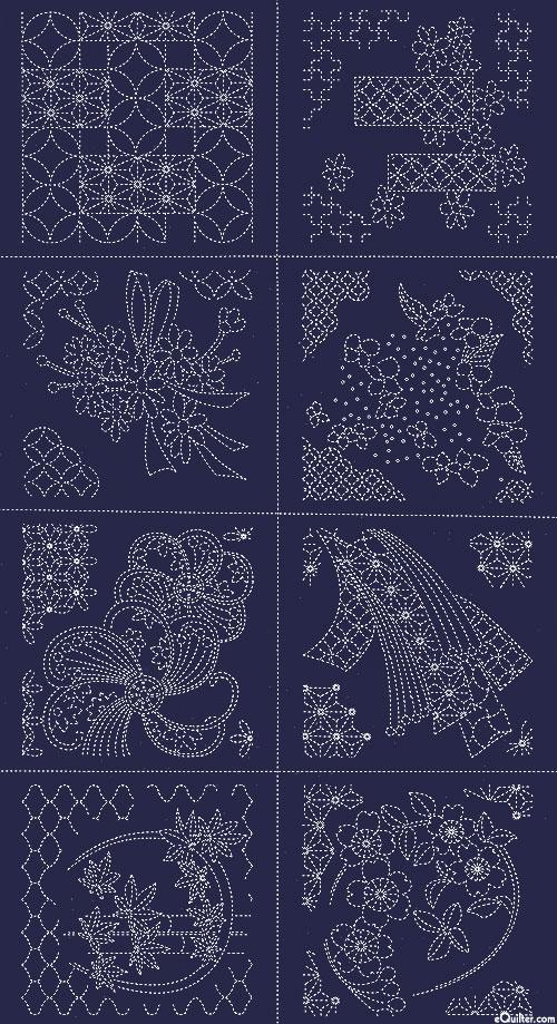 "Sashiko Panel - 8 Square Sampler - Indigo - 24"" x 44"" PANEL"