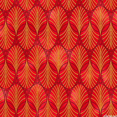 Rejoice - Flowing Ovals - Flame Red/Gold