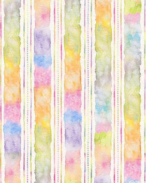 Flowers & Feathers - Watercolor Stripe - Multi