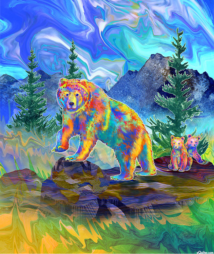 """Magnificent Animals - Grizzly & Cubs - 51"""" x 44"""" PANEL - DIGITAL"""