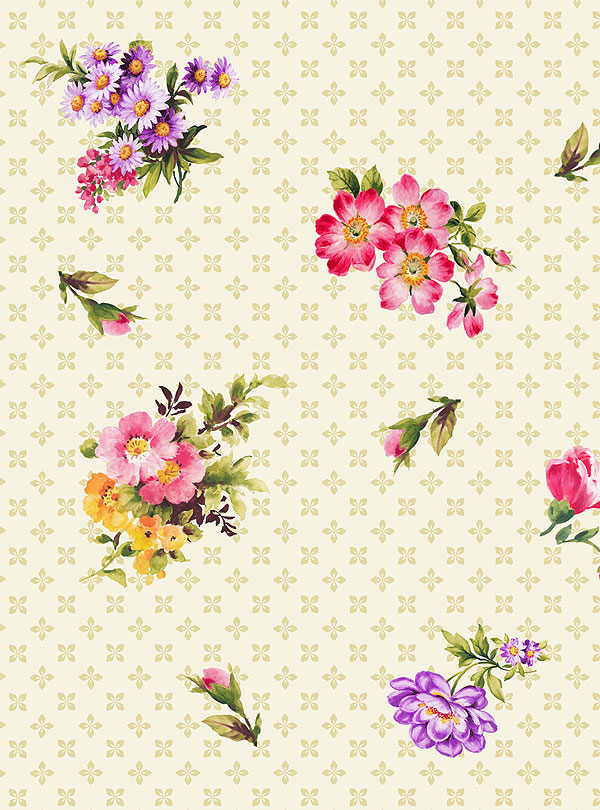 Ayana Bouquet - Country Flower Cuttings - Ivory - DIGITAL PRINT