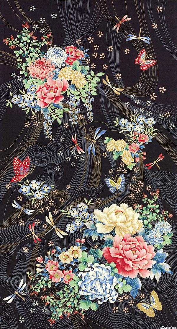 "Niwa - Japanese Spring Bouquets - Black/Gold - 24"" x 44"" PANEL"