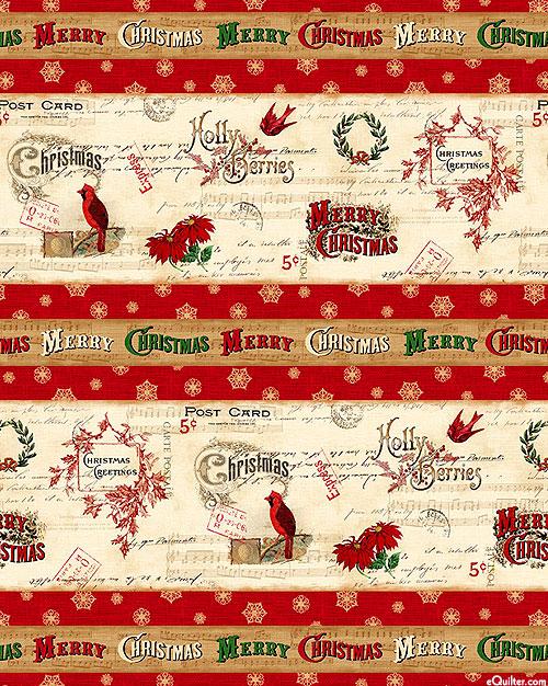 Postcard Holiday - Christmas Greeting Stripe - Cardinal Red
