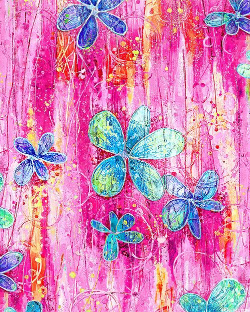 """Floral Dance - Flower Rainstorm - Hot Pink - 108"""" QUILT BACKING"""