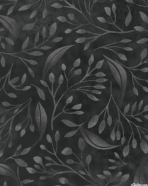 """Alessia - Breezy Leaves - Graphite Gray - 108"""" QUILT BACKING"""