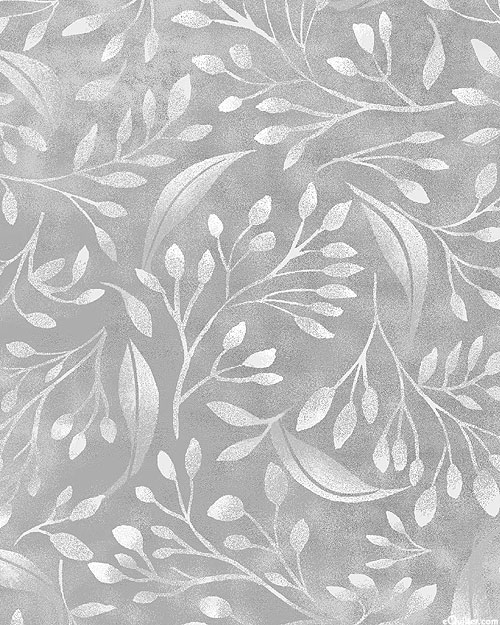 """Alessia - Breezy Leaves - Pewter Gray - 108"""" QUILT BACKING"""