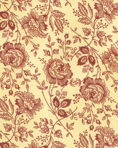 "King Quilt Backs - Folksy Floral - Natural - 108"" QUILTBACKING"