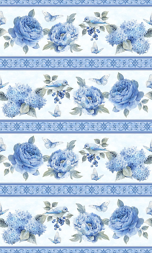 Spring Blue - Cottage Garden Stripe - Powder Blue