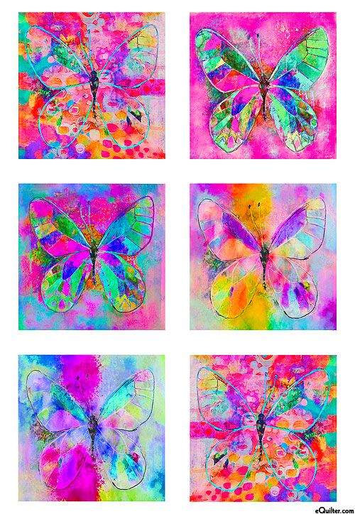 "Butterfly Dreams - Block Party - 28"" x 44"" PANEL - DIGITAL"