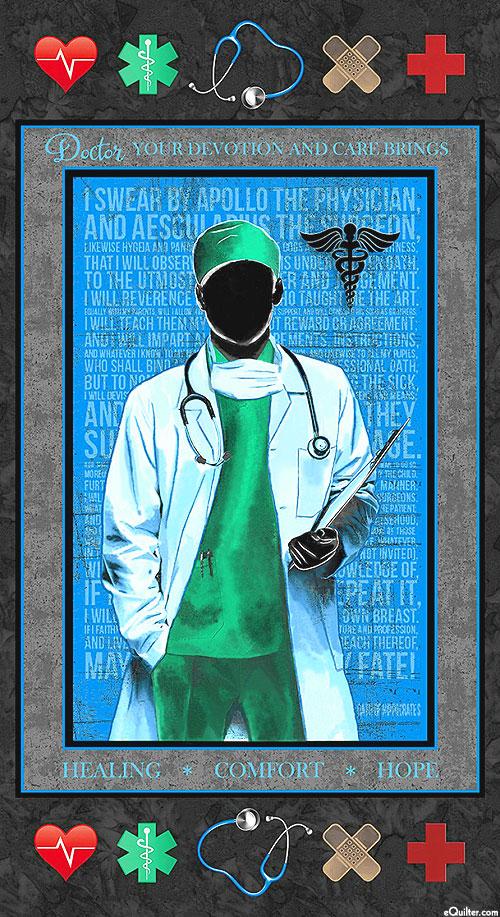 """Doctors - Healing & Comfort - Charcoal Gray - 24"""" x 44"""" PANEL"""