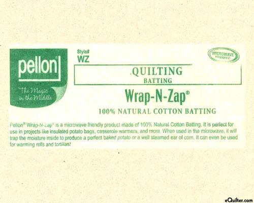 "Wrap-N-Zap Microwavable Batting - 100% Cotton - 22"" Wide"