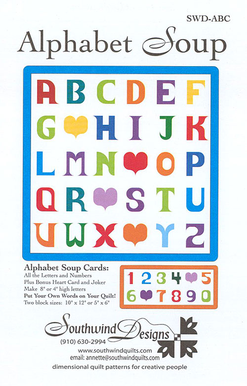 Alphabet Soup Cards - Appliqué Pattern by Southwind Designs