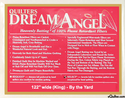 "Quilters Dream Angel Select Batting - Flame Retardant 122"" Wide"