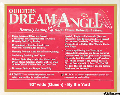"Quilters Dream Angel Select Batting - Flame Retardant 93"" Wide"