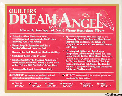 Quilters Dream Angel Select Batting - Flame Retardant Crib Size
