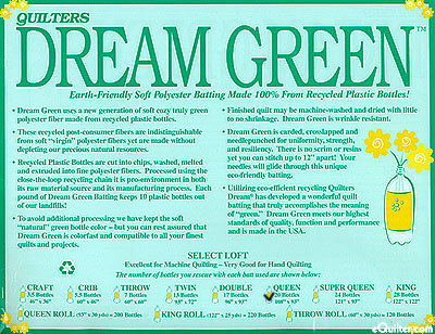 """Quilters Dream Green Batting - Recycled Poly - Queen 93"""" x 108"""""""