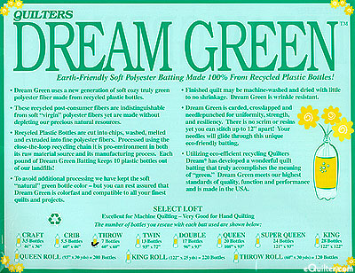 "Quilters Dream Green Batting - Recycled Poly - Throw 60"" x 60"""