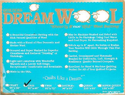 "Quilters Dream Wool Batting - 100% Wool - Crib 46"" x 60"""