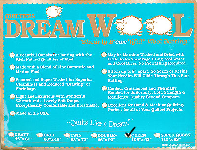 "Quilters Dream Wool Batting - 100% Wool - Queen 93"" x 108"""
