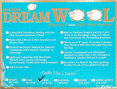 "Quilters Dream Wool Batting - 100% Wool - Twin 93"" x 72"""