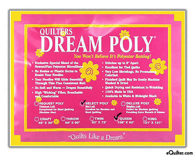 "Quilters Dream Poly Select Batting - White - Queen 93"" x 108"""